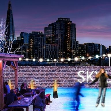 A rooftop ice skating bar exists and we need to go