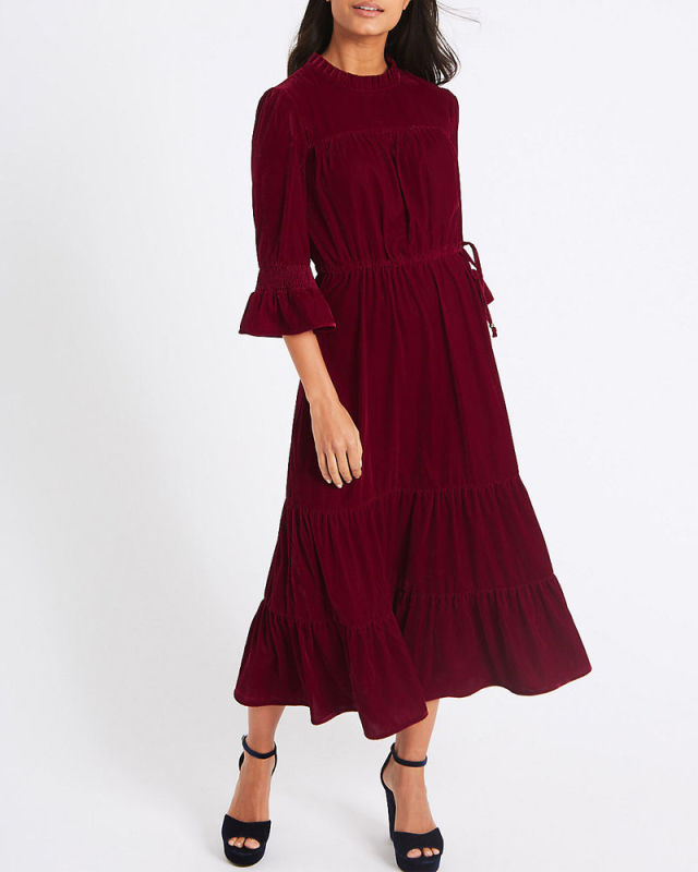 This Red Velvet Dress From M&S Is Selling Out Fast