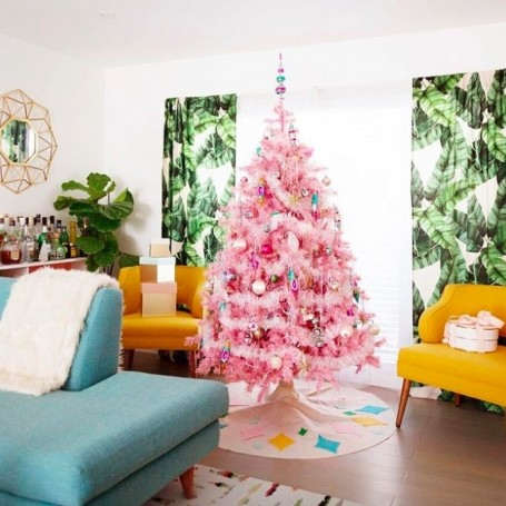 People are obsessed with pink Christmas trees