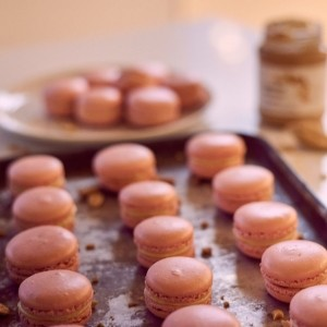 Peanut butter and raspberry macarons