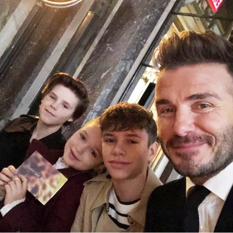 The Beckham family showed their support at Victoria's show
