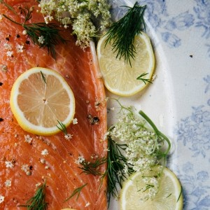Gravadlax Salmon with lemon and elderflower