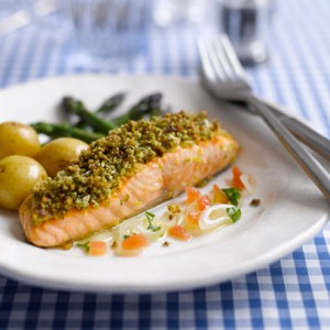 Herb crust salmon with fresh shallot, tomato and herb sauce